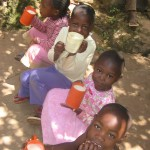 Some of the younger children drinking Porridge